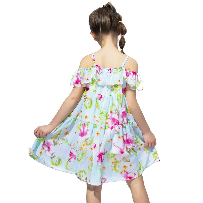 Off Shoulder Chiffon Floral Summer Dress  in Strawbie Collections - girls dress