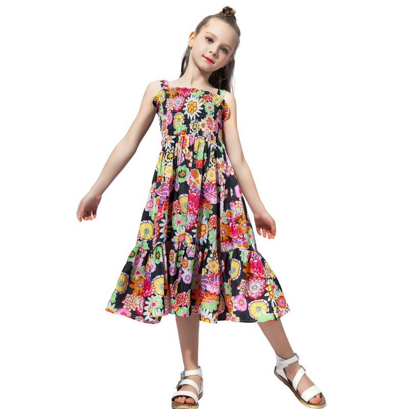 Long Floral Summer Dress With Smocking Bodice  in Strawbie Collections - girls dress