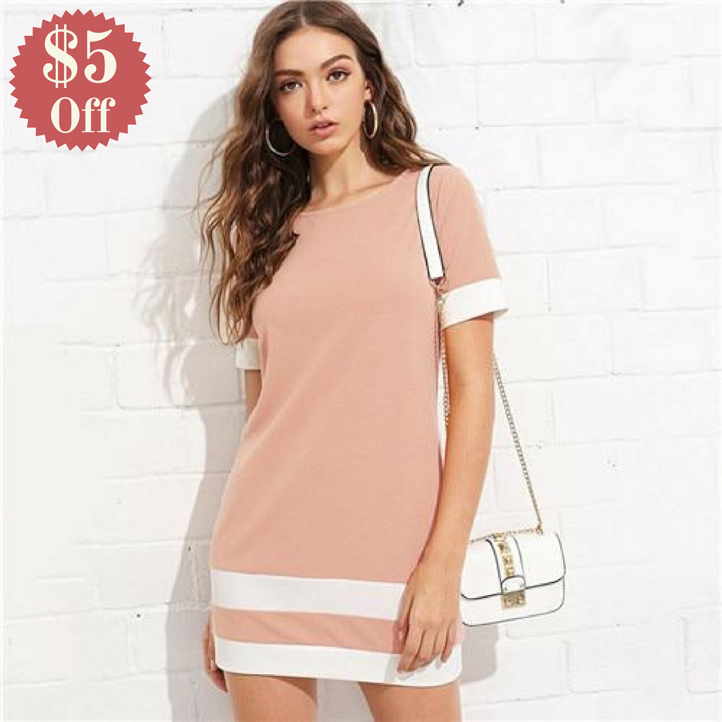 Beautiful Color Block Mini Dress  in Strawbie Collections - girls dress