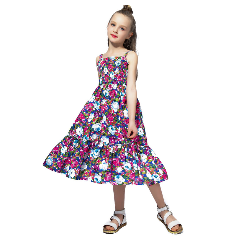 Long Floral Summer Dress With Smocking Bodice purple floral / 12 in Strawbie Collections - girls dress