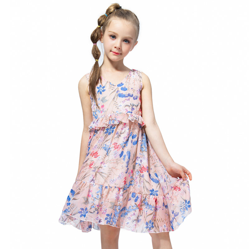 Chiffon Sleeveless Summer Dress pink floral / 12 in Strawbie Collections - girls dress