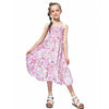 Long Floral Summer Dress With Smocking Bodice pink roses / 12 in Strawbie Collections - girls dress