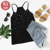 Pearl beaded black cami top  in Strawbie Collections - Girls Tops