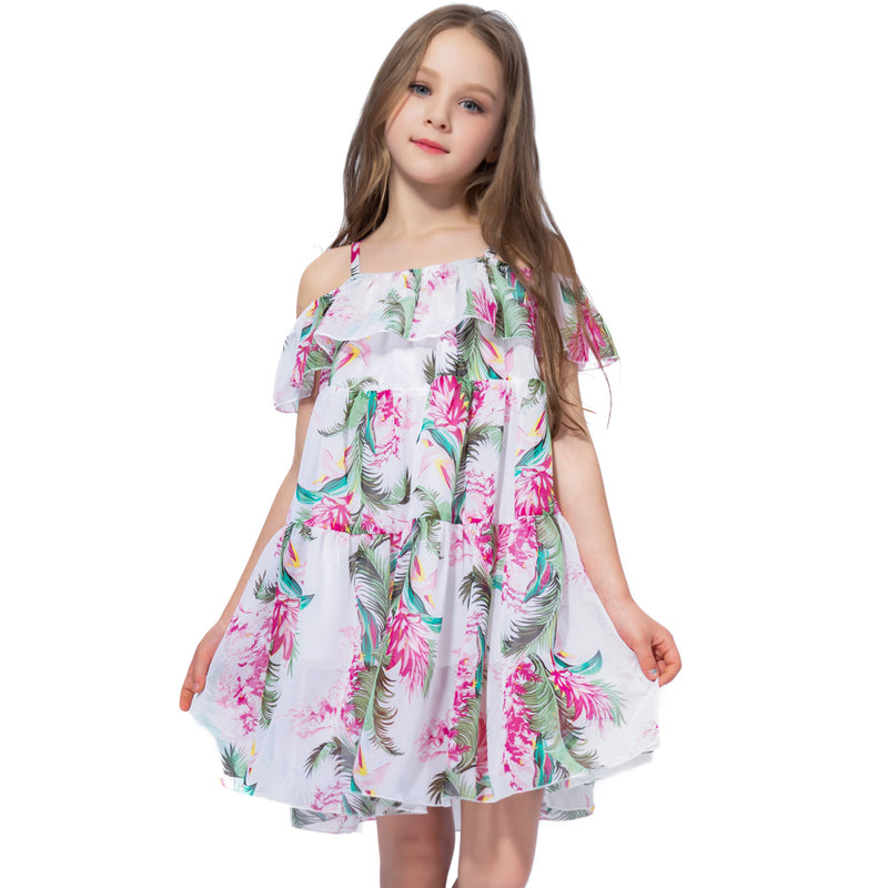 Off Shoulder Chiffon Floral Summer Dress Pink Floral / 2 in Strawbie Collections - girls dress
