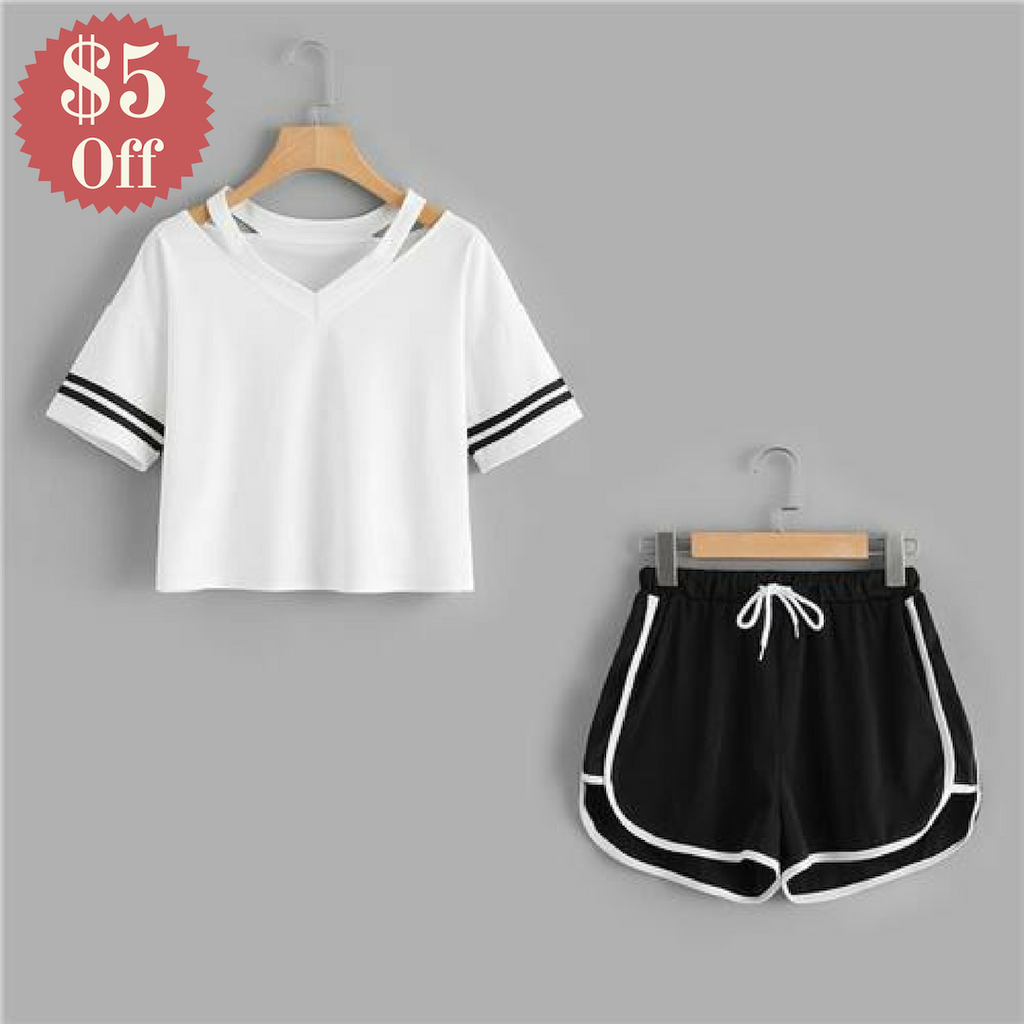 Stripe Sleeve Tee Top With Contrast Trim Shorts Sets  in Strawbie Collections - girls dress set