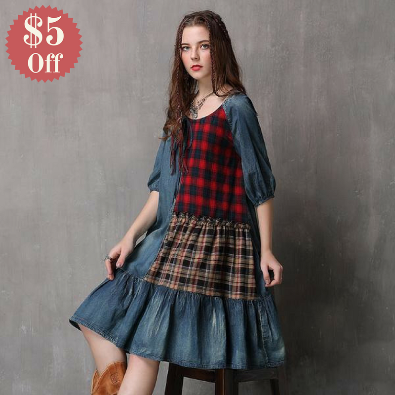 Plaid Patchwork Loose Fit Denim Dress  in Strawbie Collections - girls dress