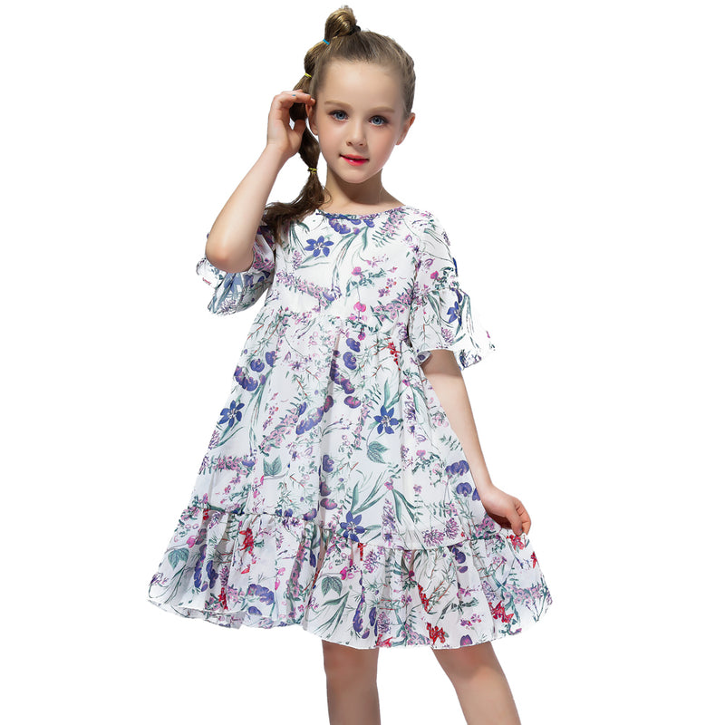 Casual Chiffon Pleated Floral dress blue / 2 in Strawbie Collections - girls dress