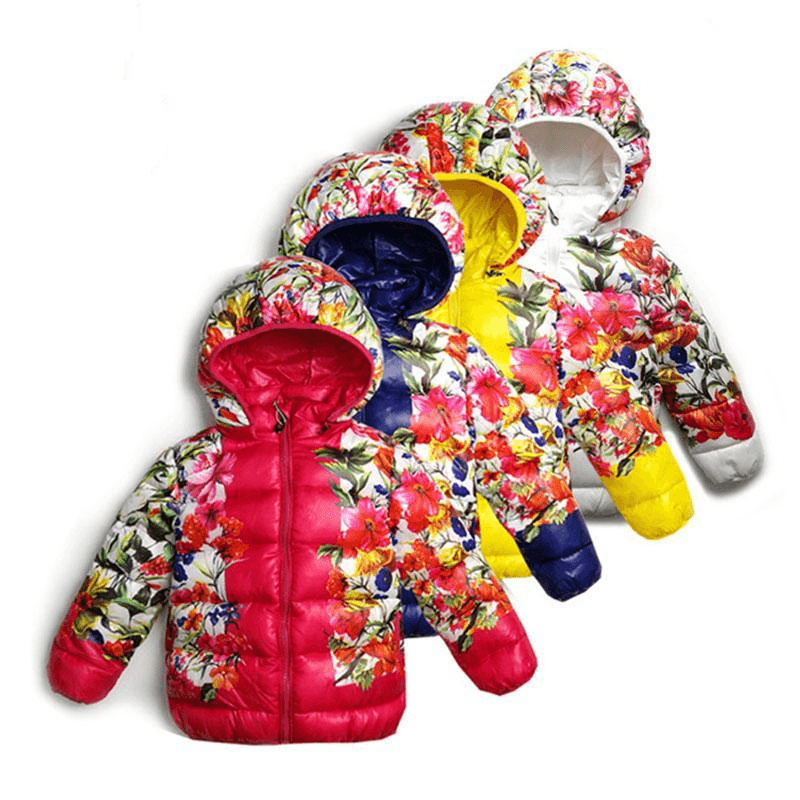 Floral Print Winter Parkas For Girls - jackets - - Strawbie Collections