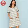 Plaid Gray Autumn Tunic with ruffle decoration  in Strawbie Collections - girls dress