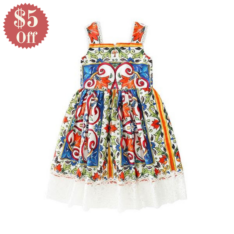 Floral Pattern Dress With Lace Decorations  in Strawbie Collections - girls dress