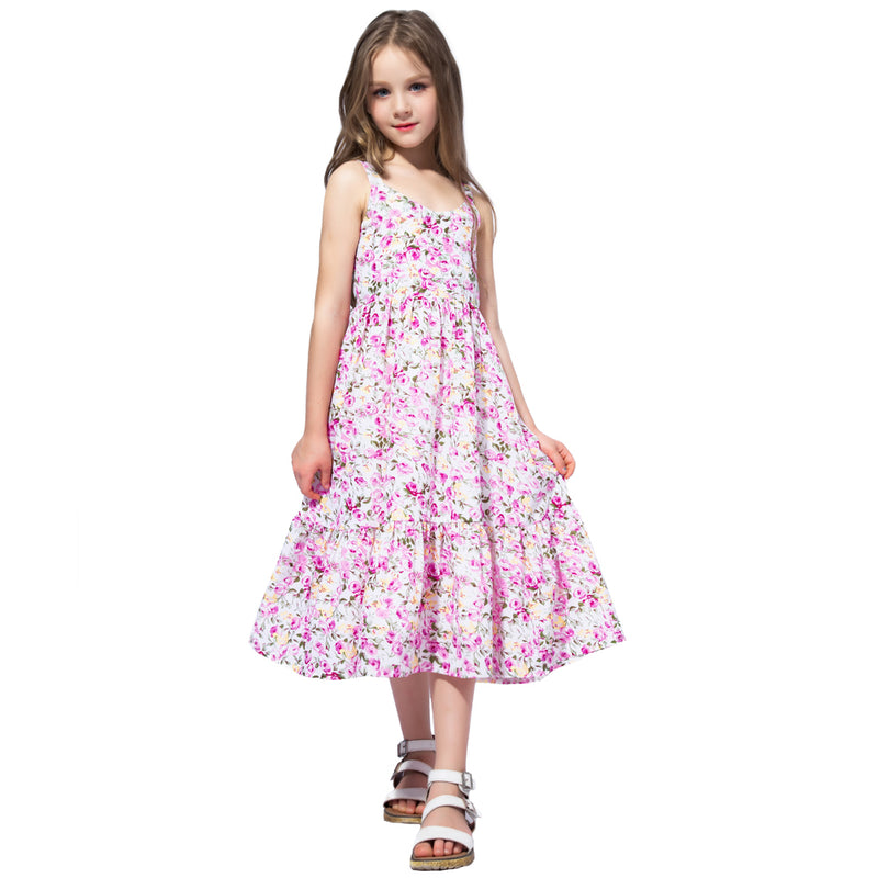 Chiffon Summer Princess Maxi Dress pink / 12 in Strawbie Collections - girls dress