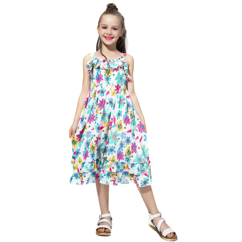 Bohemian Style Ruffle Decorated Dress  in Strawbie Collections - girls dress