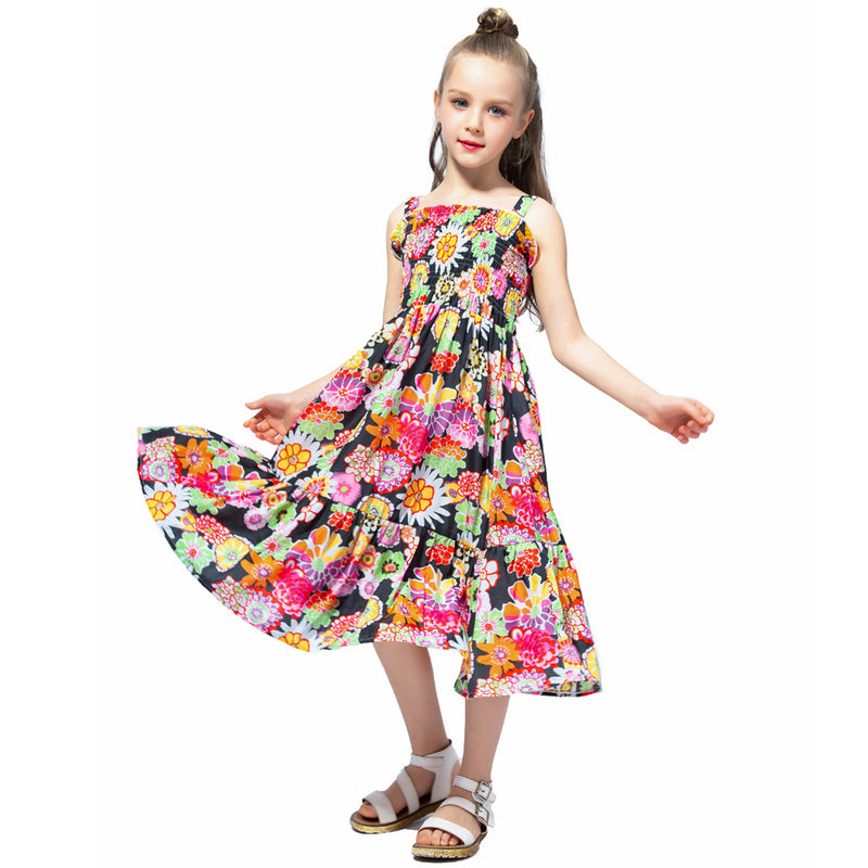 Long Floral Summer Dress With Smocking Bodice black floral / 12 in Strawbie Collections - girls dress