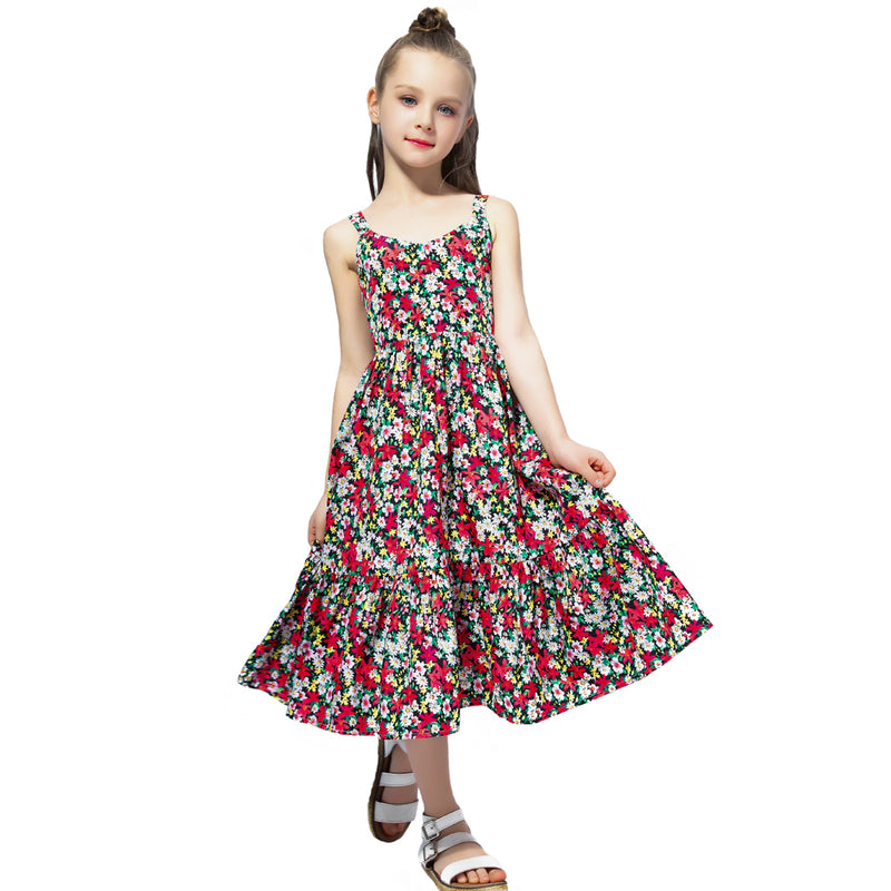 Chiffon Summer Princess Maxi Dress multi / 12 in Strawbie Collections - girls dress