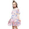 Casual Chiffon Pleated Floral dress pink / 2 in Strawbie Collections - girls dress
