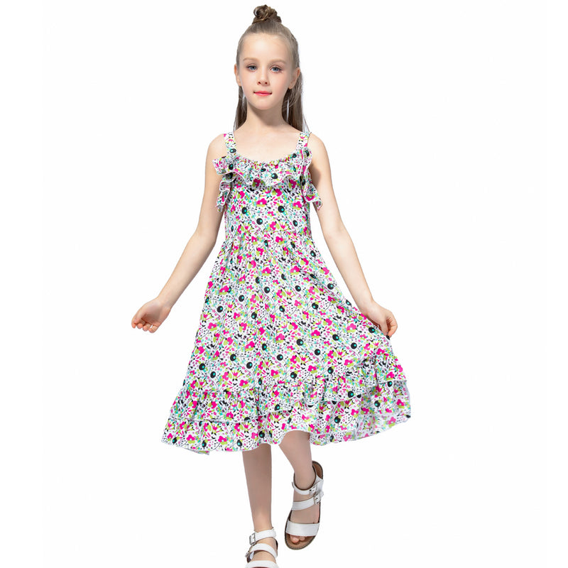 Bohemian Style Ruffle Decorated Dress As photo 4 / 12 in Strawbie Collections - girls dress