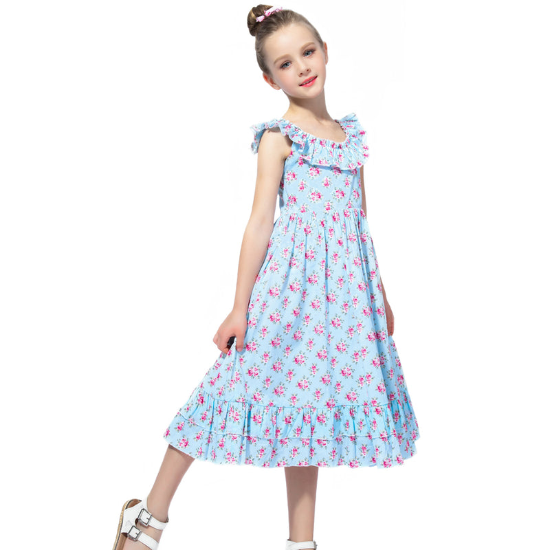 Floral sleeveless Summer Gown in  Blue sky blue / 3 in Strawbie Collections - girls dress