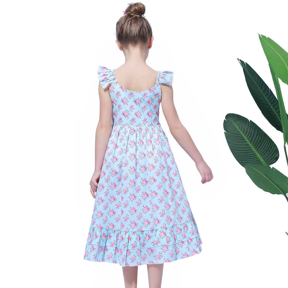 Floral sleeveless Summer Gown in Blue - girls dress - - Strawbie Collections