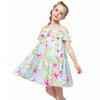 Off Shoulder Chiffon Floral Summer Dress Green Floral / 12 in Strawbie Collections - girls dress