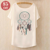 Cotton Tee Tops With Cute Prints and Batwing Sleeve  in Strawbie Collections - girls T-Shirt