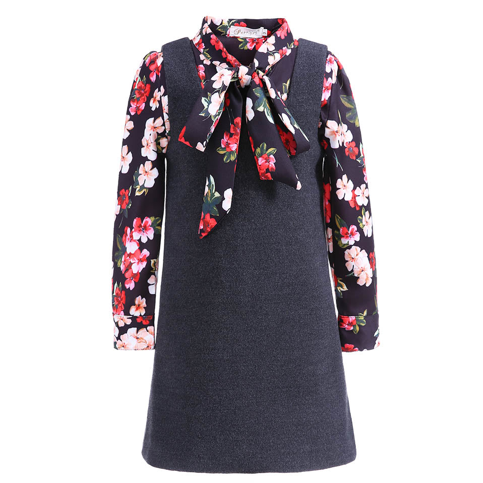Black Formal Dress With Long Sleeve Floral Shirt black / 8 in Strawbie Collections - girls dress
