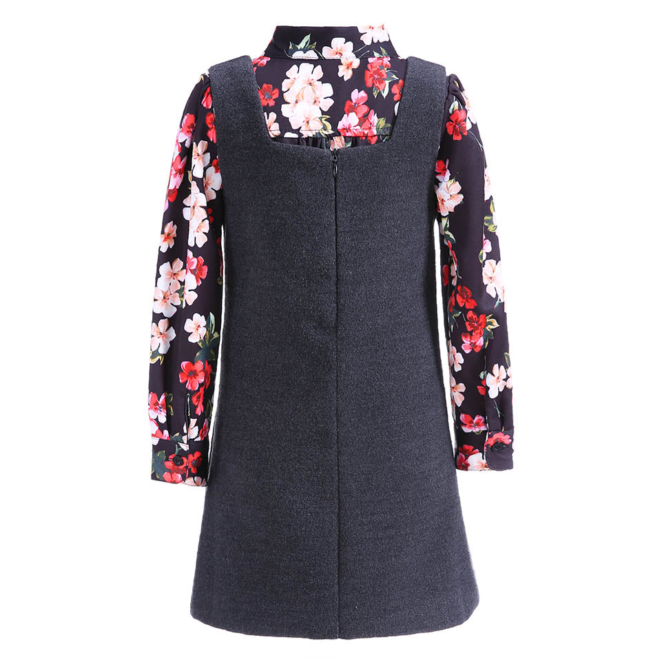 Black Formal Dress With Long Sleeve Floral Shirt - girls dress - - Strawbie Collections
