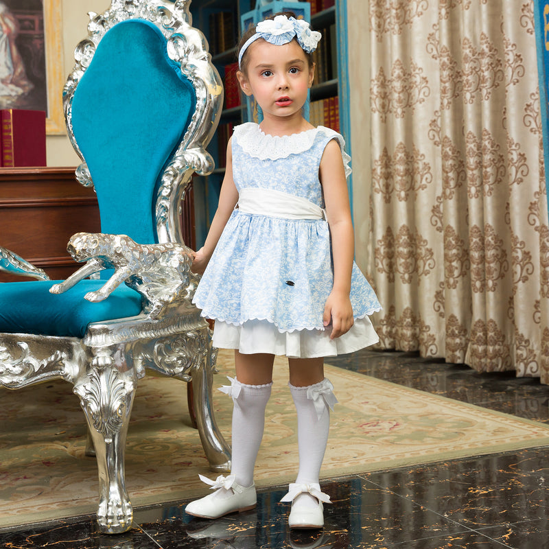 Lace Collared Beautiful Blue Dress With Headband  in Strawbie Collections - girls dress