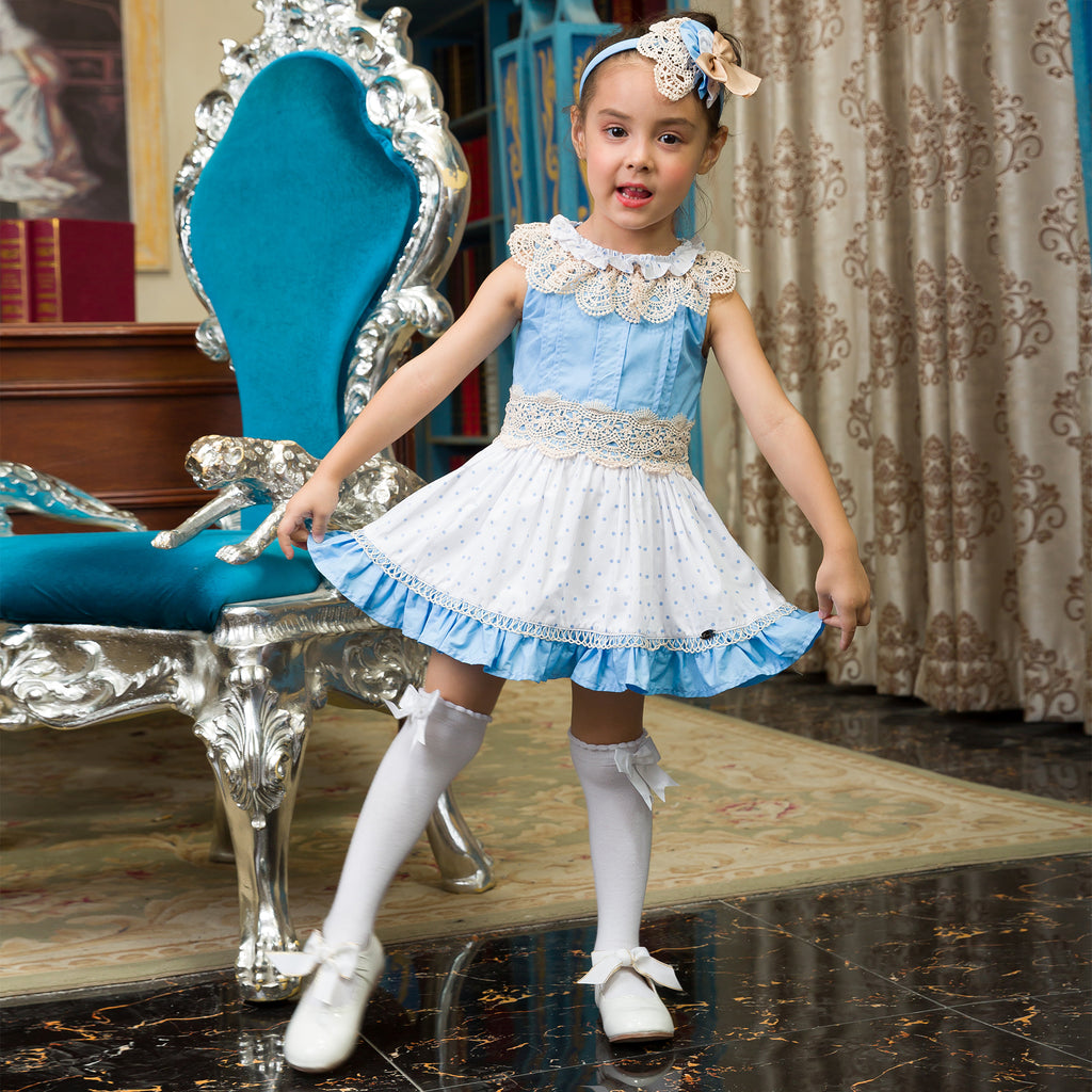 Blue And White Princess Dress With Lace Collar And A Headband - girls dress - - Strawbie Collections