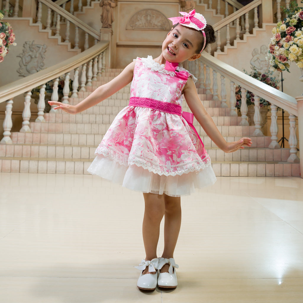 Pink And White Mosaic Pattern Dress With Lace Decoration  in Strawbie Collections - girls dress