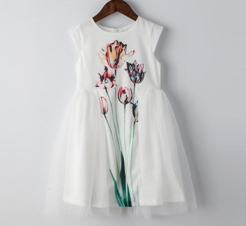 Tulip Print White Dress With Mesh Decoration  in Strawbie Collections - girls dress