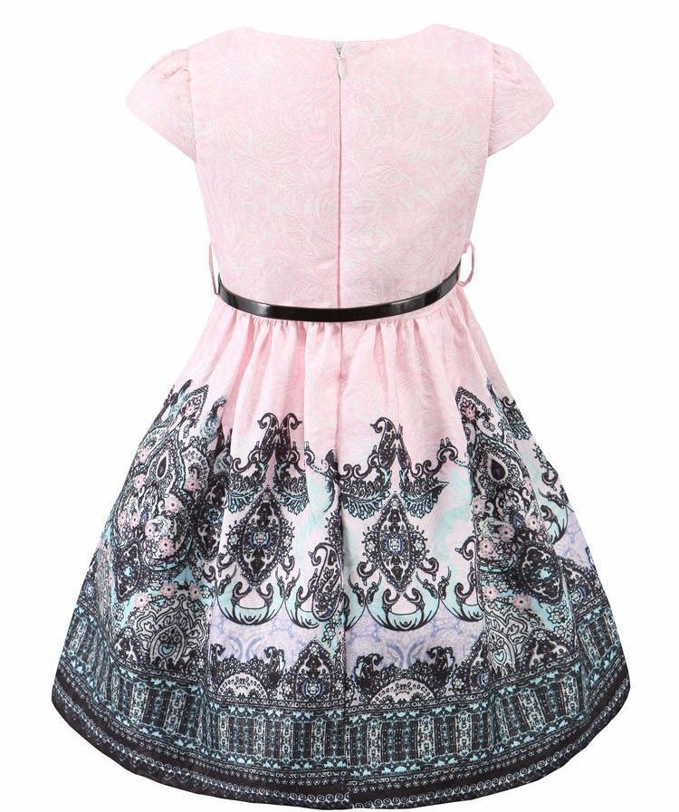 Printed Casual Pink Dress With Belt  in Strawbie Collections - girls dress