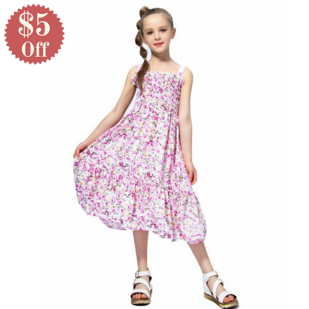 Long Floral Summer Dress With Smocking Bodice