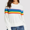 White Pullover With Rainbow Stripes White / L in Strawbie Collections - girls tops