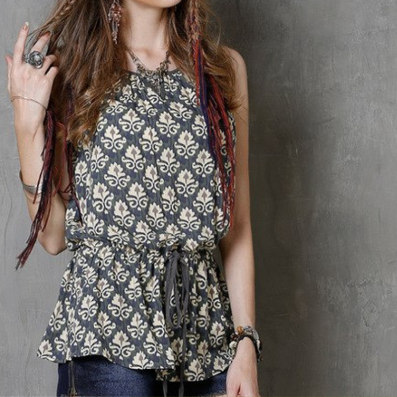 Sleeveless Cotton Drawstring Blouse  in Strawbie Collections - Girls Tops