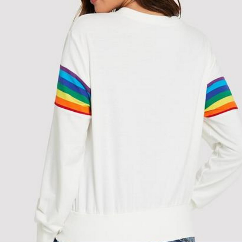 White Pullover With Rainbow Stripes  in Strawbie Collections - girls tops