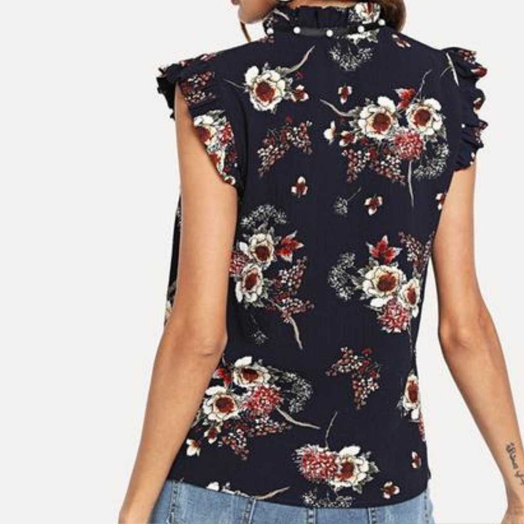 Flower Printed Navy Blouse with Ruffle sleeve