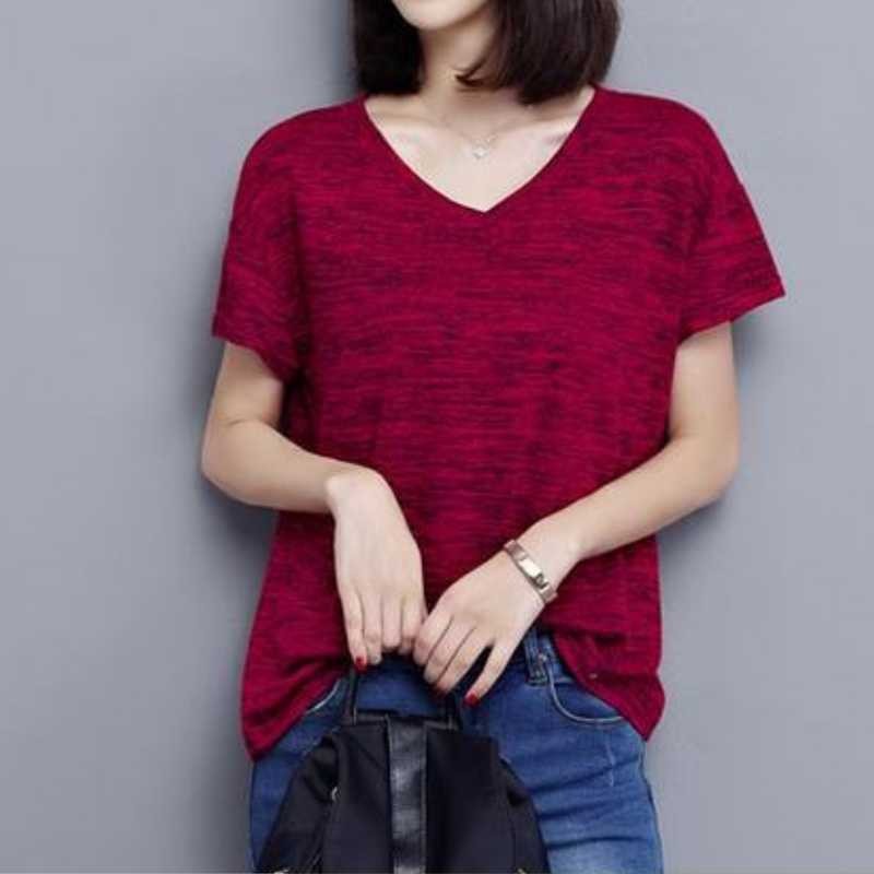 Hipster V-neck Tee top Burgundy / XXXL in Strawbie Collections - Girls Tops