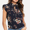 Flower Printed Navy Blouse with Ruffle sleeve Navy / L in Strawbie Collections - Girls Tops