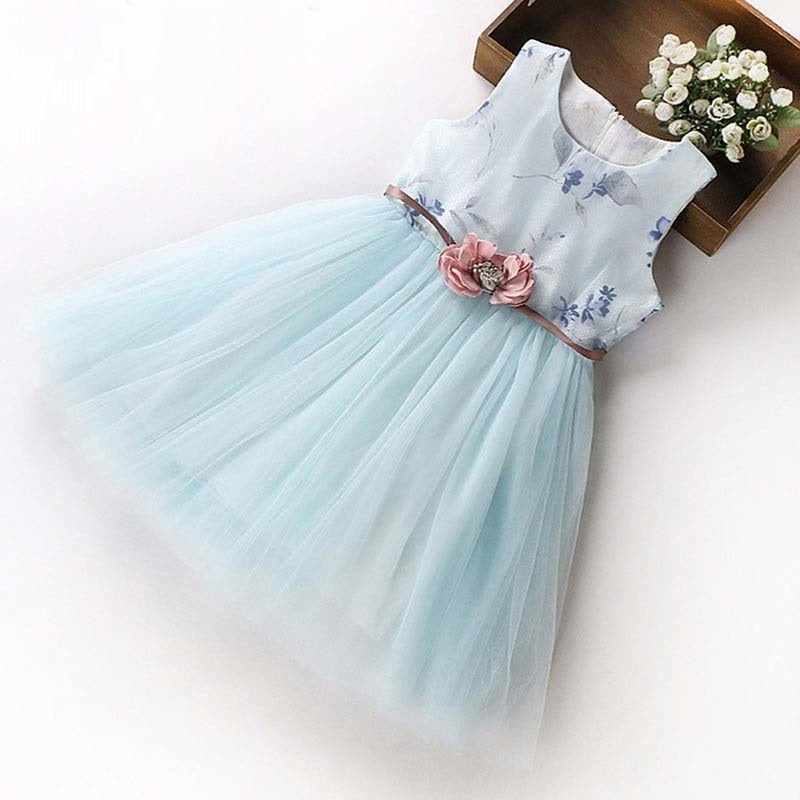 Princess Party Mesh Dress With Flower Belt Sky blue / 12 in Strawbie Collections - girls dress