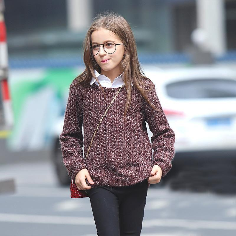 Fashionable Long Sleeve Sweater For Girls  in Strawbie Collections - sweater