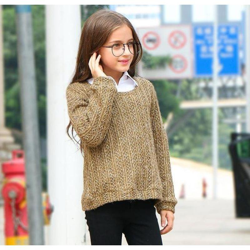 Fashionable Long Sleeve Sweater For Girls Khaki / 15 in Strawbie Collections - sweater