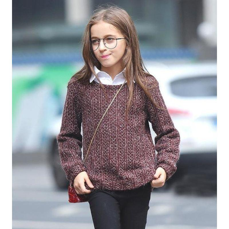 Fashionable Long Sleeve Sweater For Girls Maroon / 15 in Strawbie Collections - sweater