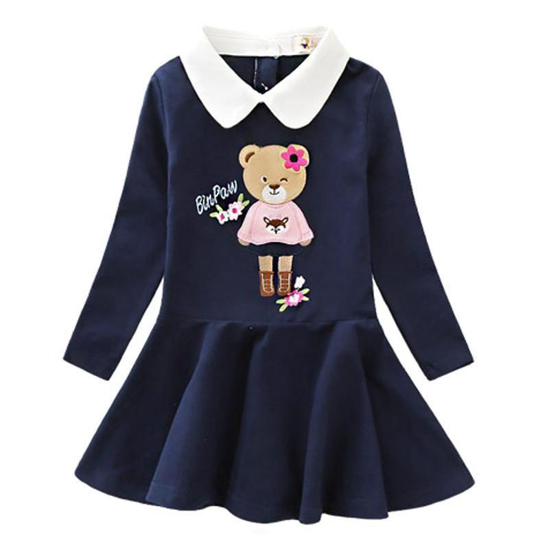 Long Sleeve Turn Down Collar Dresses Navy Blue / 9 in Strawbie Collections - girls dress
