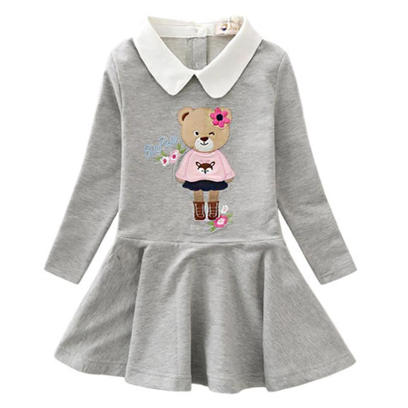Long Sleeve Turn Down Collar Dresses Gray / 9 in Strawbie Collections - girls dress