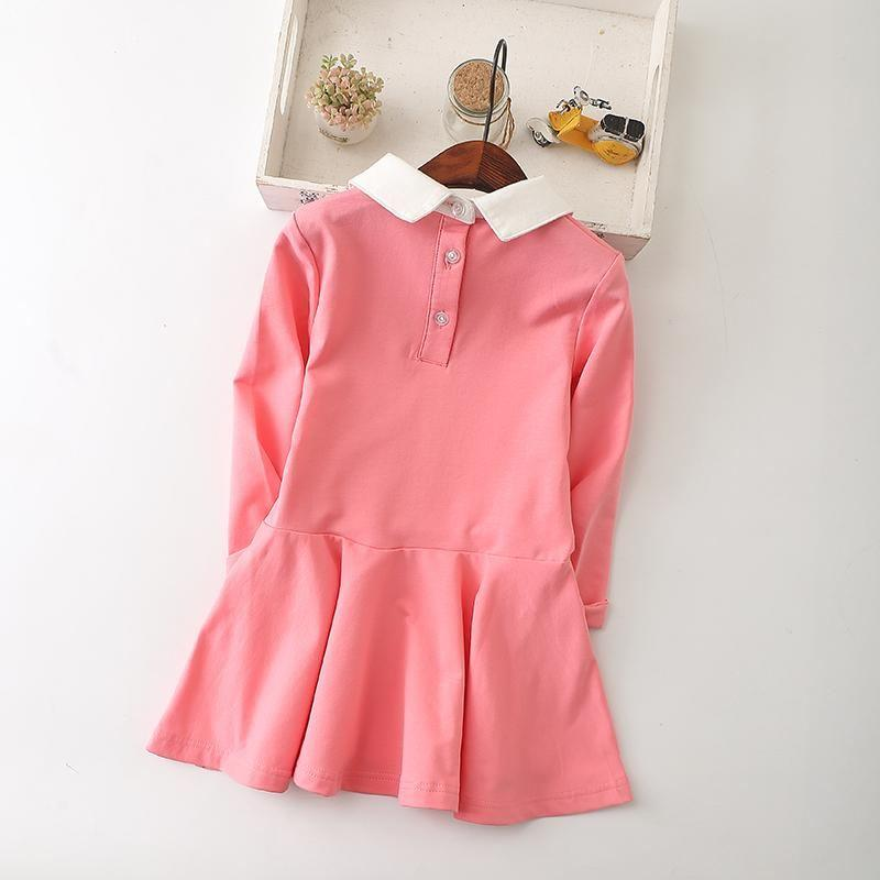 Long Sleeve Turn Down Collar Dresses  in Strawbie Collections - girls dress