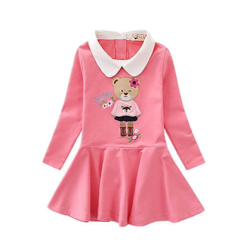 Long Sleeve Turn Down Collar Dresses Rose Red / 9 in Strawbie Collections - girls dress
