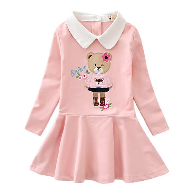 Long Sleeve Turn Down Collar Dresses Pink / 9 in Strawbie Collections - girls dress