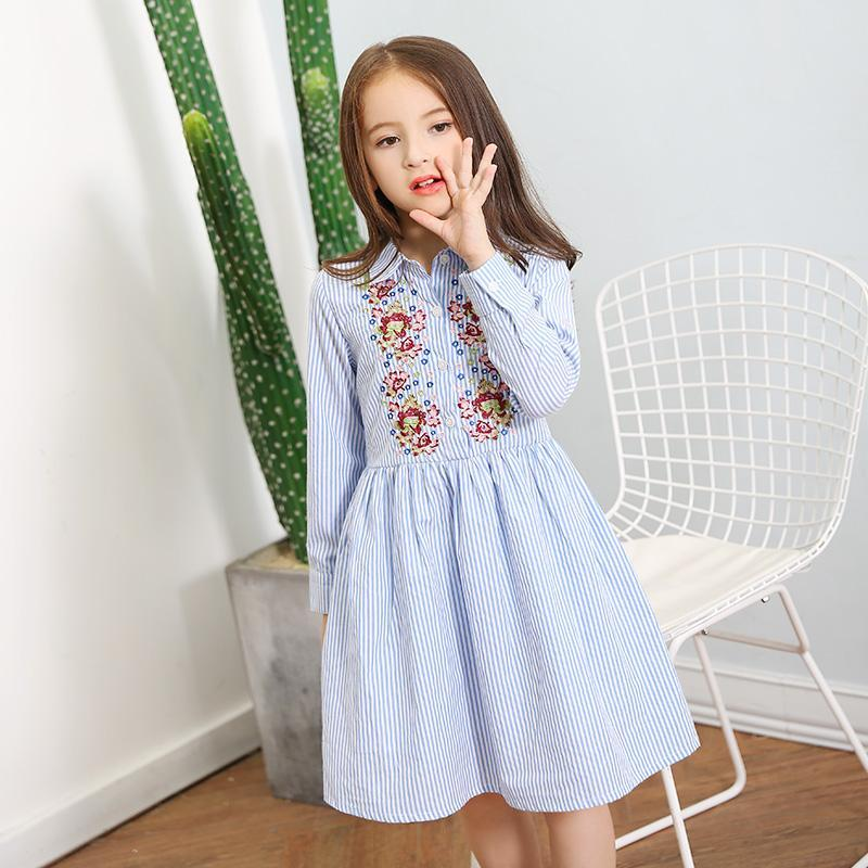 Beautiful Embroidered Long Sleeve Striped Dress Multi / 15 in Strawbie Collections - girls dress