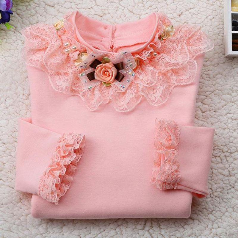 Long Sleeve Lace T- Shirt For Girls - Girls Tops - light pink / 10 - Strawbie Collections