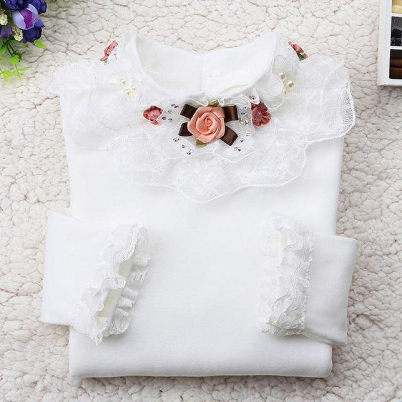 Long Sleeve Lace T- Shirt For Girls - Girls Tops - white / 10 - Strawbie Collections